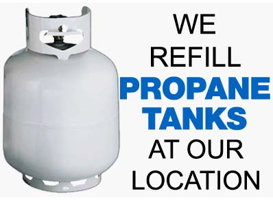 We refill propane tanks & cylinders
